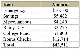 Emergency fund and rainy day funds in the budget
