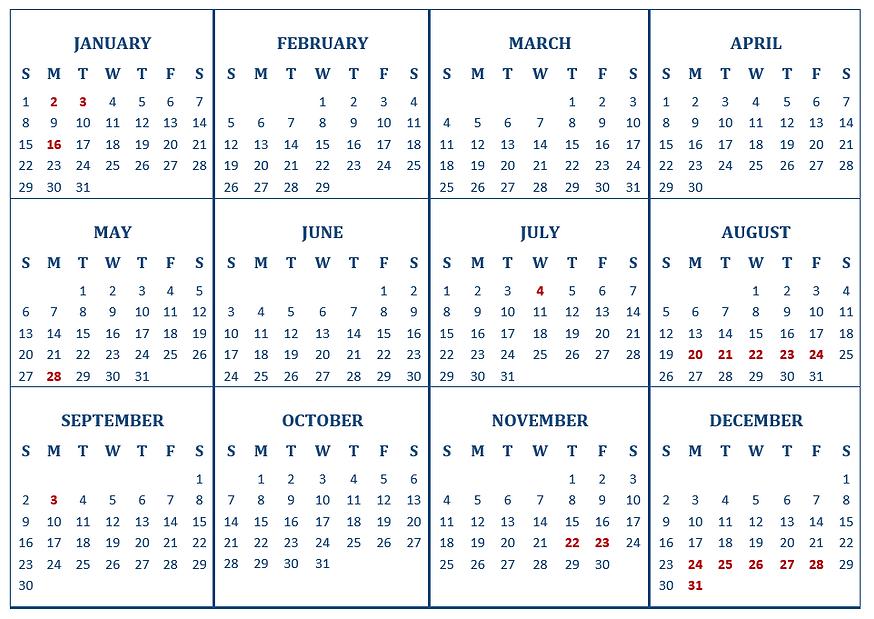 Yearly budget calendar