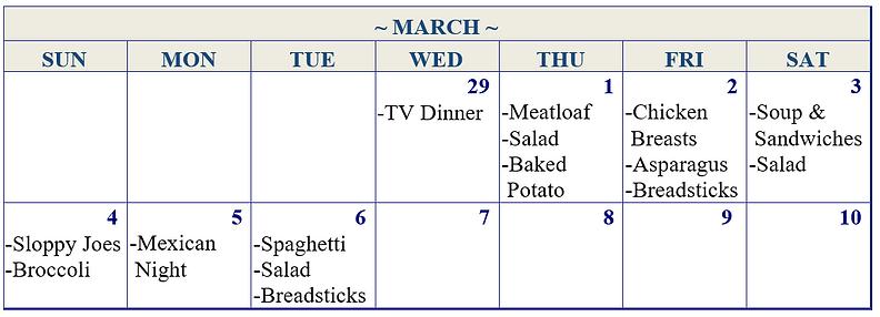 Food calendar for dinner