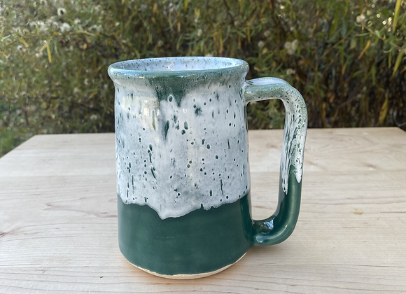 Green and White Stein
