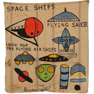 """Bruce Lee SPACE SHIPS 41"""" x 37""""  Ink on vintage canvas $750.00"""