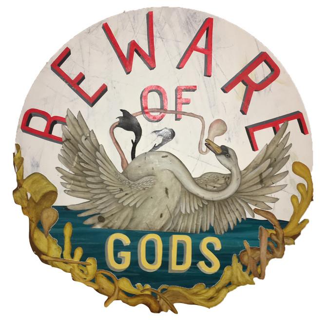 "JASON HOLLEY BEWARE OF GODS (UTOPIA SERVICE CLUB NO. 6) mixed media on panel  22"" round $1800.00"