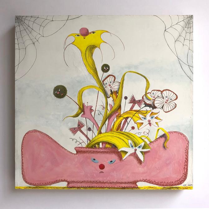 """Alejandra Fernandez It's a Party! gouache, color pencil, graphite on panel 16""""x 16"""""""