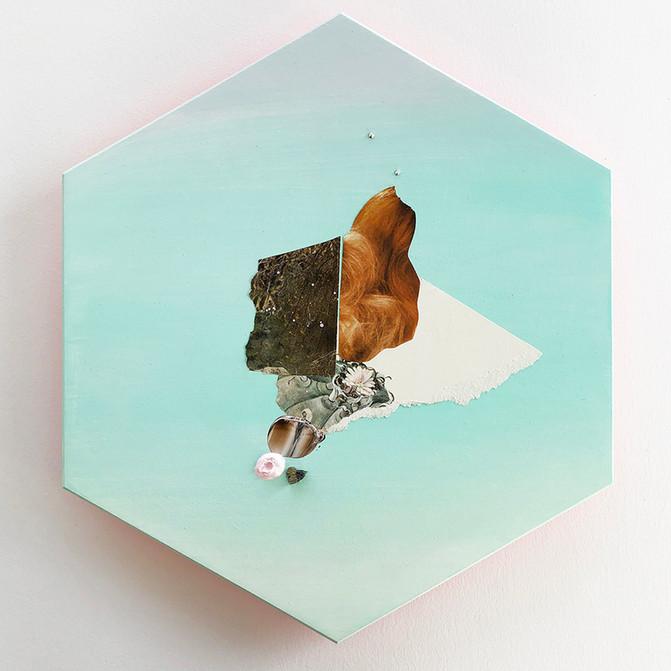 "Danielle Krysa Fragment of a Desert Dream No. 4 11.5"" x 13.5""  mixed media on panel $425.00"