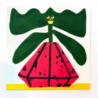 """Alejandra Fernandez Green Flower and Red Vase, 2019  gouache on panel 12"""" x 12"""""""