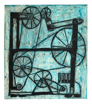 "Rob Clayton Blue Machine, 2019 acrylic, oil pastel on paper 20"" x 18"""