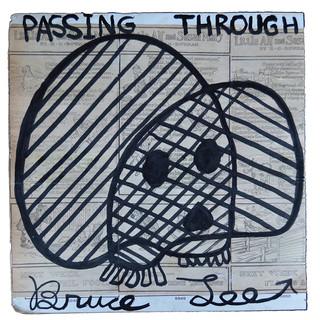 """Bruce Lee Passing Through 16.5"""" x 15""""  Ink on vintage scrapbook  framed $650.00"""