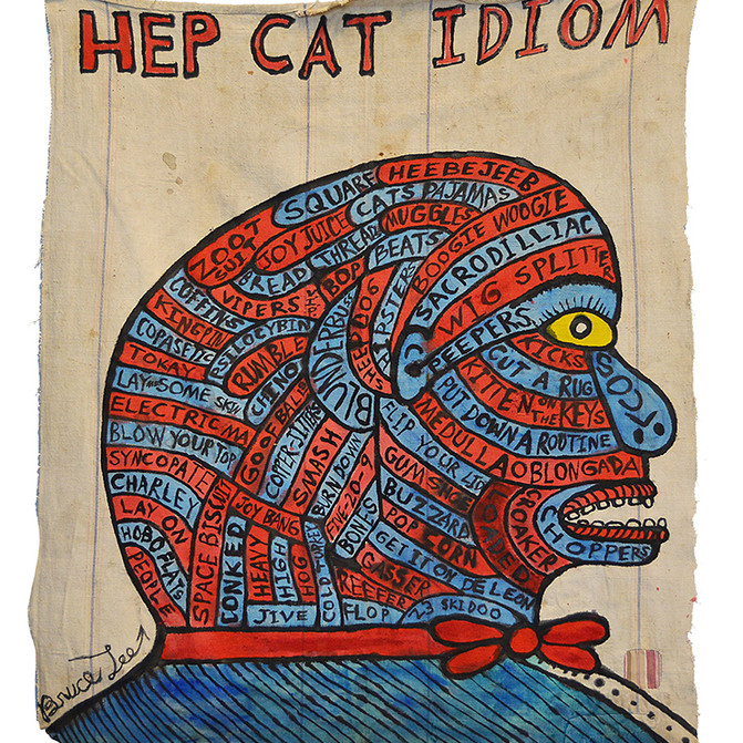 "Bruce Lee HEP CAT IDIOM 44"" x 39""  Ink on vintage canvas $900.00"