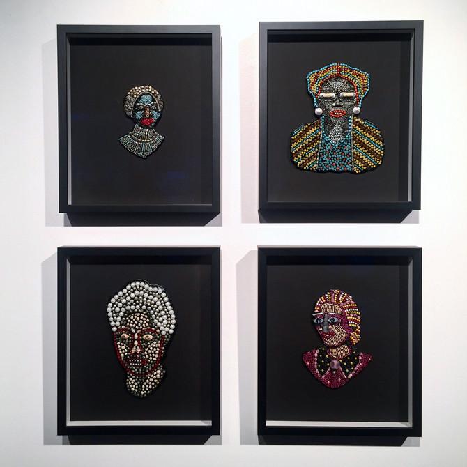 """Woman Series Mixed media  15"""" x 13"""" framed each $650 each"""