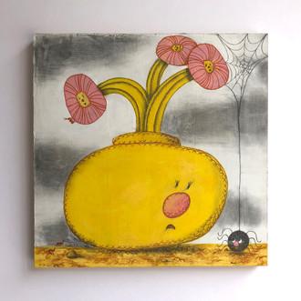 "Alejandra Fernadez Yellow Vase and Spider gouache, color pencil, graphite on panel 12""x 12"""