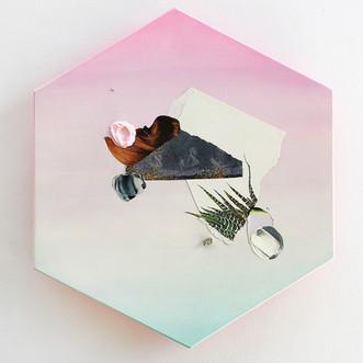 "Danielle Krysa  Fragment of a Desert Dream No. 5 10"" x 11.5""  mixed media on panel $300.00"