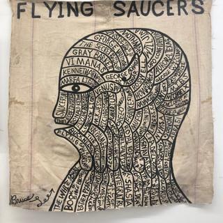 "Bruce Lee Flying Saucers Head 39"" x 39""  Ink on vintage canvas $900.00"