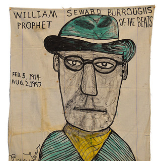 "Bruce Lee ""William Seward Burroughs"" 41"" x 37""  Ink on vintage canvas $750.00"