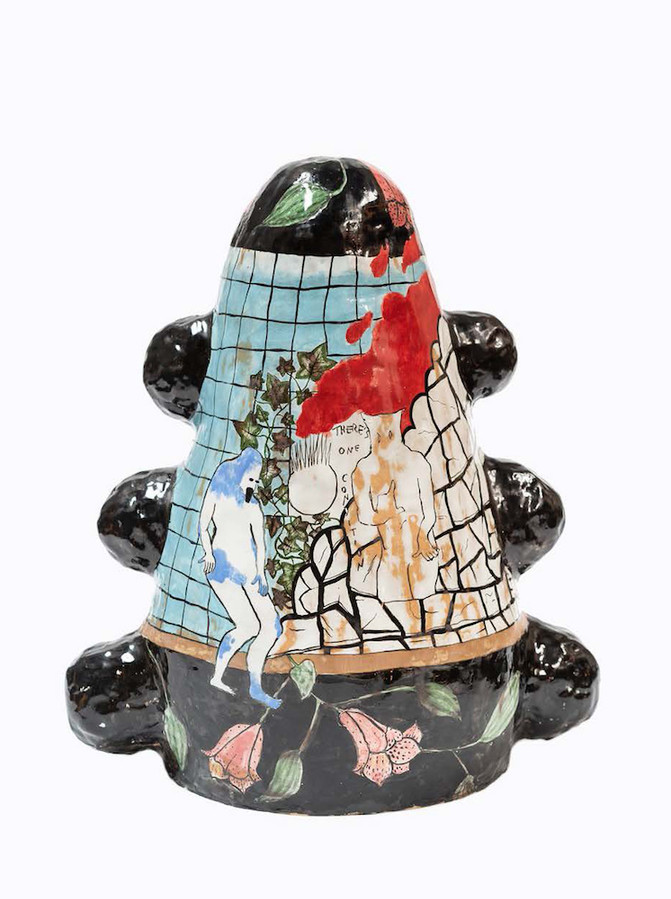"""Maria Paz There's One Condition Porcelain, glaze, 2018 16""""H x 14""""W x 12""""D $7500"""