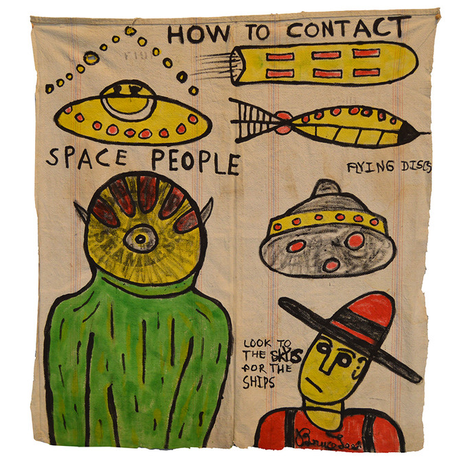 """Bruce Lee HOW TO CONTACT SPACE PEOPLE 41"""" x 38""""  Ink on vintage canvas $750.00"""