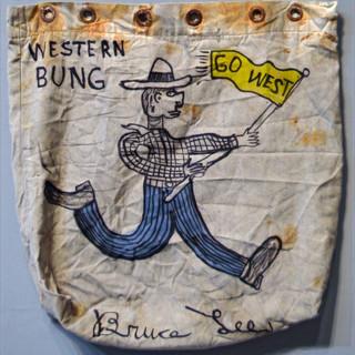 "Bruce Lee WESTERN BUNG 22"" x 22""  Ink on vintage mailbag $400.00"