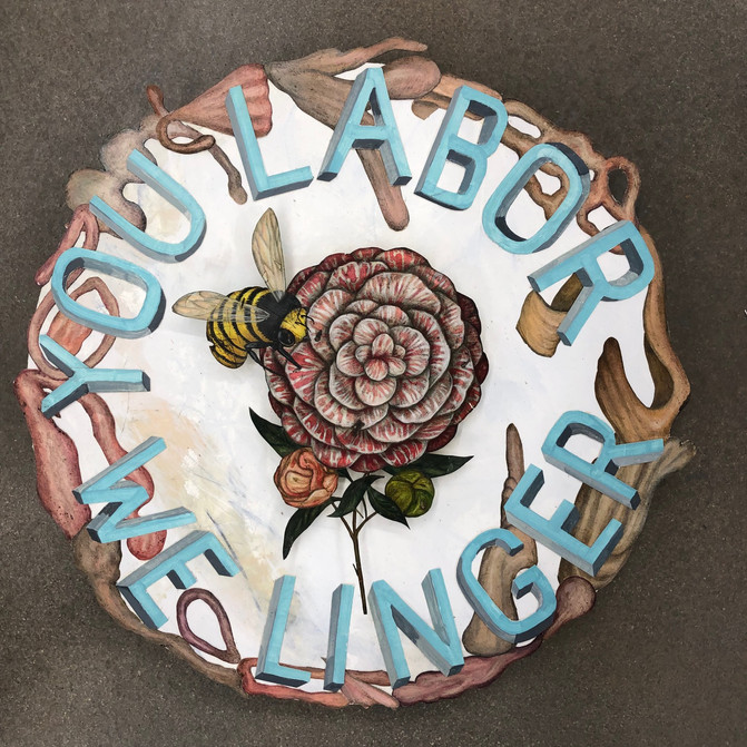"""JASON HOLLEY YOU LABOR WE LINGER (UTOPIA SERVICE CLUB NO. 3) mixed media on panel  19"""" round $1200.00"""