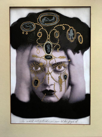 """Georganne Deen, She wasn't nun material and we never let her forget it.  mixed media on print 13.75"""" x 11"""" (mat size)"""