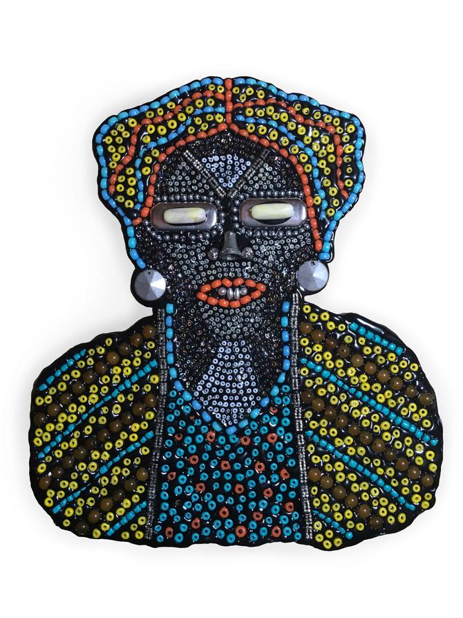 "Voodoo Woman Mixed media  15"" x 13"" framed $650"