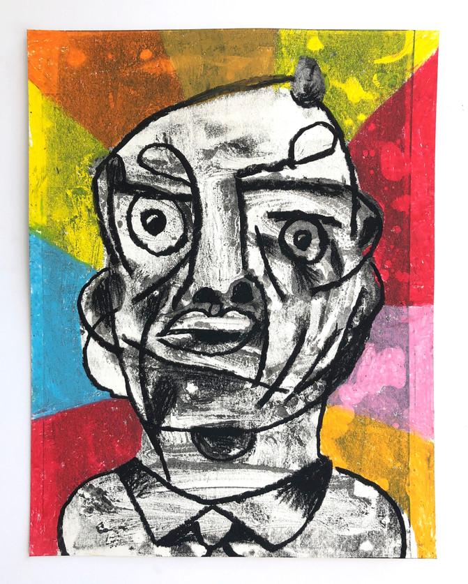"""Rob Clayton Raisin man, 2018 mono print, oil pastel on paper 14"""" x 11"""""""