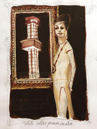 "Georganne Deen, White Collar Prison Matron  7"" x 4.75"" gouache on paper"