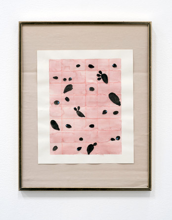 """Quilt study, 2018   Watercolor and collage on paper  9.5"""" x 8"""" $550"""