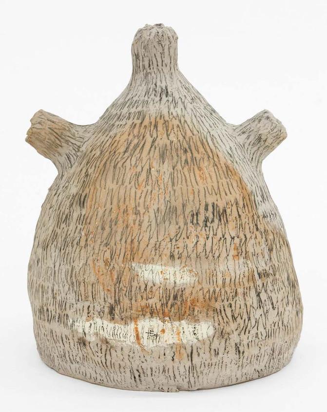 "Maria Paz Escapism Porcelain, glaze,pencil underglaze, 2018 13""H x 10""W x 9.5""D $2900"