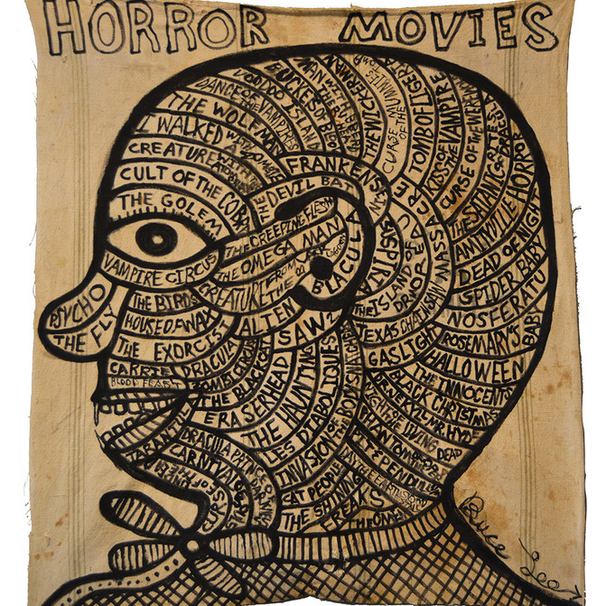 """Bruce Lee HORROR MOVIES I44"""" x 38""""  Ink on vintage canvas $950.00"""