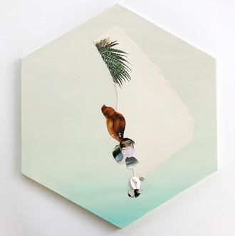 "Danielle Krysa Fragment of a Desert Dream No. 6 14.5"" x 16.5""  mixed media on panel $775.00"