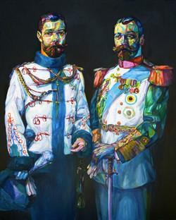 """2 Beards, 2009, oil on panel, 60""""x48"""