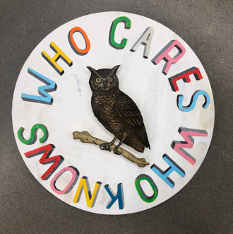 """JASON HOLLEY WHO CARE WHO KNOWS (UTOPIA SERVICE CLUB NO. 2) mixed media on panel  15"""" round SOLD"""