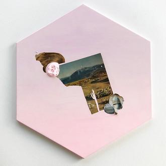"Danielle Krysa Fragment of a Desert Dream No. 2 11.5"" x 13.5""  mixed media on panel $425.00"