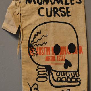 "Bruce Lee MUMMIES CURSE 18"" x 10""  Ink on vintage bank bag SOLD"