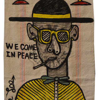 """Bruce Lee WE COME IN PEACE 32"""" x 18""""  Ink on vintage canvas SOLD"""