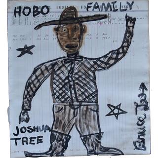 """Bruce Lee HOBO FAMILY 16.5"""" x 15""""  Ink on vintage ledger  framed SOLD"""