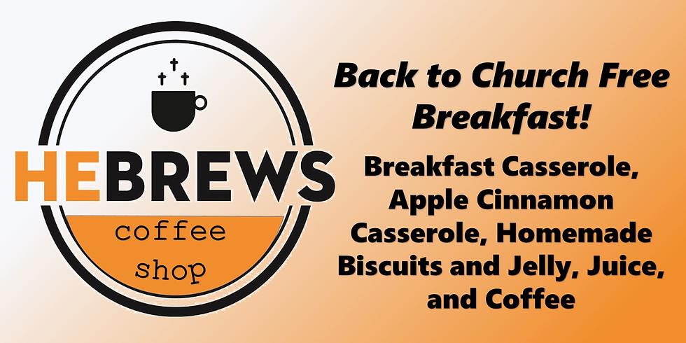Back to Church FREE Coffee Shop Breakfast