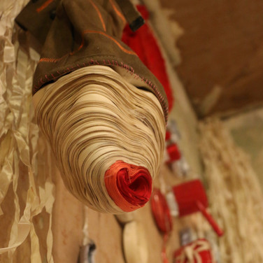Installation Ribbon, Army Spats, Found Wood 2014  @Elsewhere Museum and Collaborative