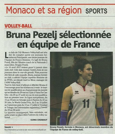 Bruna Pezelj dans Nice-Matin