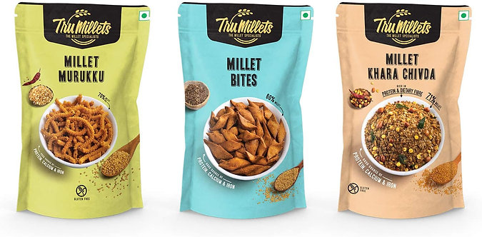 Trumillets | Healthy Millet Snack | Namkeen | Khara Chivda, Millet Bites