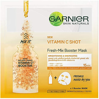 Garnier Skin Naturals, Fresh Mix Vitamin C, Face Serum Sheet Mask (Orange), 33 g