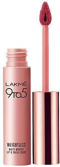 Lakme 9to5 Weightless Mousse Lipcolour and Cheek color, Plum feather,9g