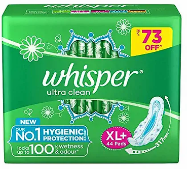 Whisper Ultra Clean 44 Pieces (XL Plus) Sanitary pads for women