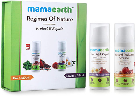 Mamaearth's Natural Radiance Day Cream and Overnight Repair face cream
