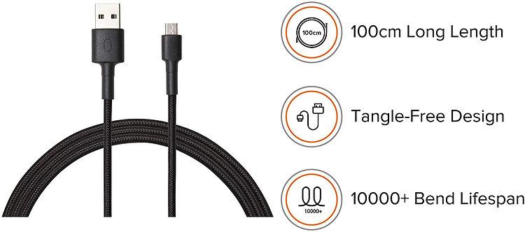 Mi Micro USB Braided 100cm Black