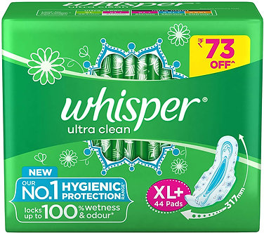 Whisper Ultra Clean 44Pieces (XL PLUS) Sanitary Pads for women