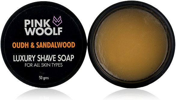 Pink Woolf Luxury Shaving Soap-Oudh & Sandle wood create Rich & Moistureing