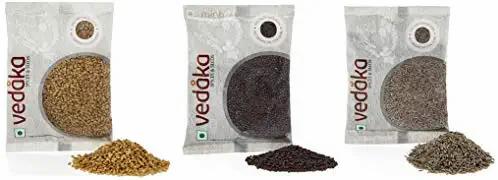 Vedaka Spice combo - Cumin Seeds (Jeera), Mustard Seeds (Rai) Big, Fenugreek (M