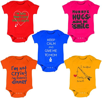 Kiddeo Baby Boys and Baby Girls Cotton Bodysuit Pack of 5(0-3months)