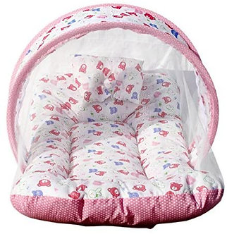 Amardeep and Co Toddler Matteress with Mosquite Net (pink) -MT-01-Pink