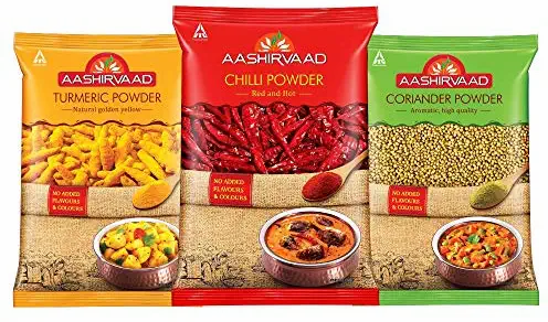Aashirvaad Spices Combo Pack (Chilli 200g, Turmeric 200g, Coriander 200g)